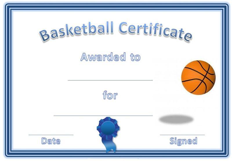 Free Basketball Certificates Blue