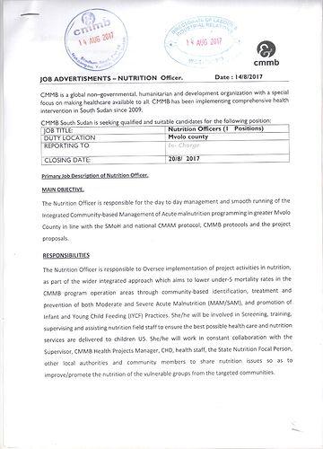 Job Advertisement Nutrition OfficerMvolo  Job Vacancies  South