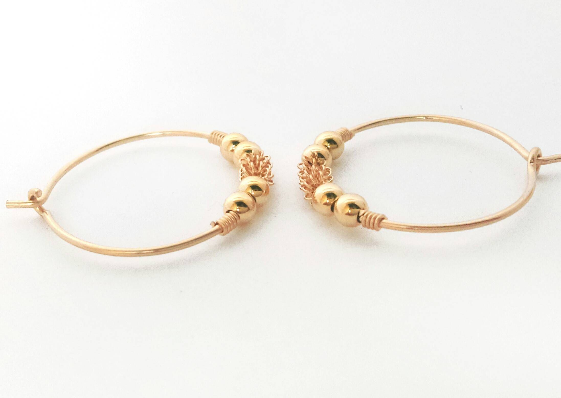 14k Yellow Gold Hoop Earrings For Women S Thin Filled