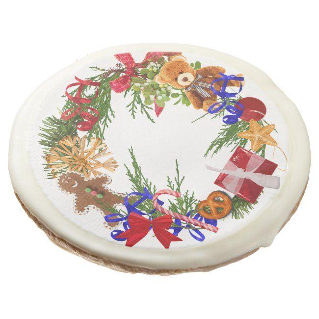Christmas wreath Sugar Cookies ,