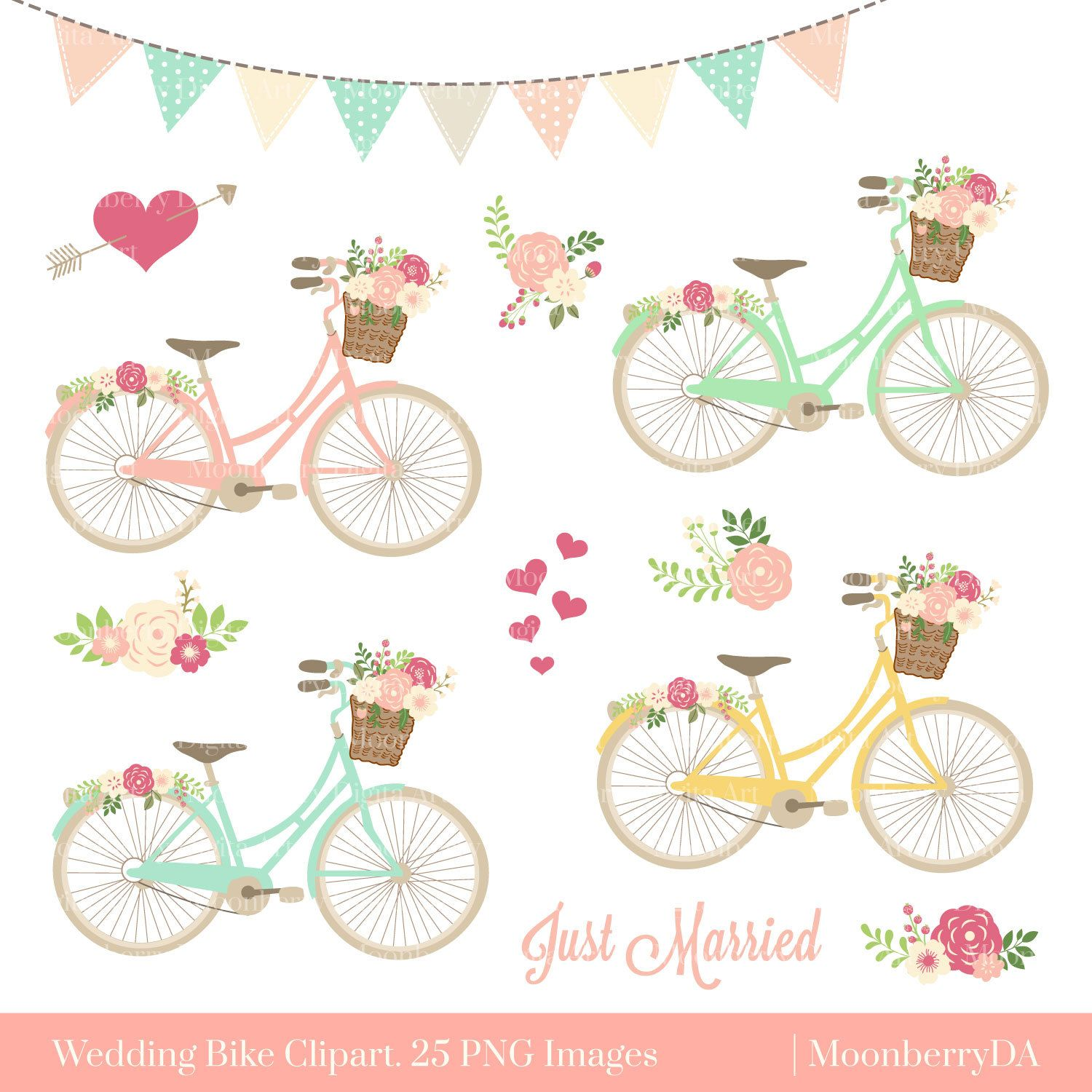 Bikes with flowers clip art