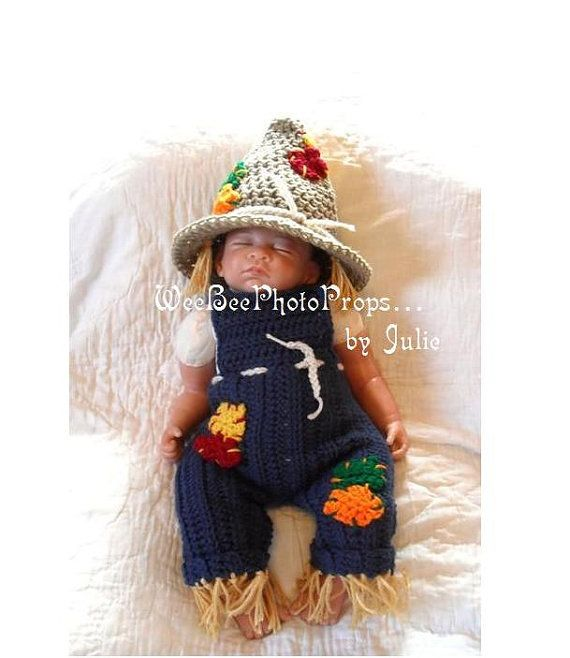Items similar to newborn halloween scarecrow costume photography prop baby hat and overalls on Etsy  sc 1 st  Pinterest & Newborn halloween scarecrow costume photography prop baby hat and ...