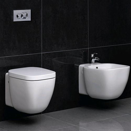 Sanitari bagno sospesi serie design moderno coppia wc con sedile ...