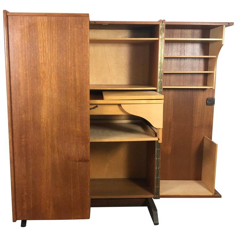 Mummenthaler And Meier Cabinet Desk Box Magic Box Work Station Danish Scandinavian Modern Brass Teak Workstation Desk Teak