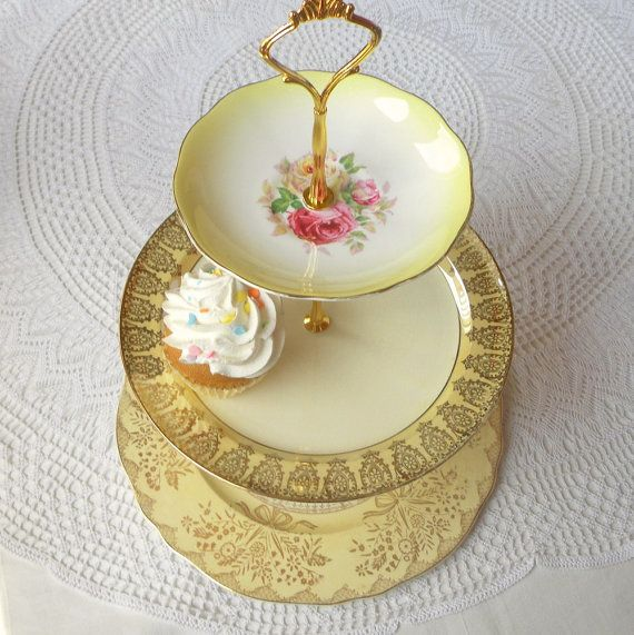 Alice Grows a Yellow Rose Pale Butter Shabby Vintage China 3 Tiered Plate Stand for Tea Tray Birthday Wedding Cupcakes Shower or Jewelry & Alice Grows a Yellow Rose Pale Butter Shabby Vintage China 3 Tiered ...