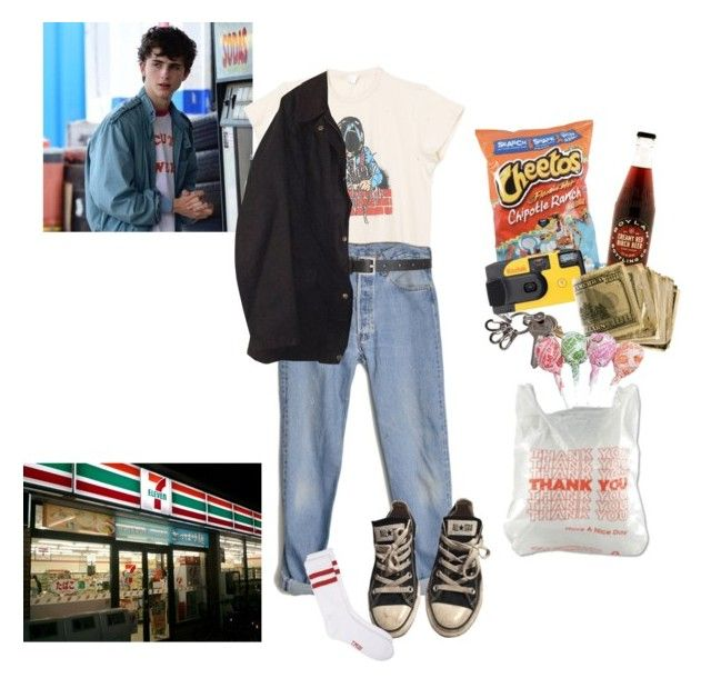 """a trip to 7 eleven"" by nadyaarw ❤ liked on Polyvore featuring MadeWorn, Levi's, Barneys New York, Barbour, Converse and Kodak"