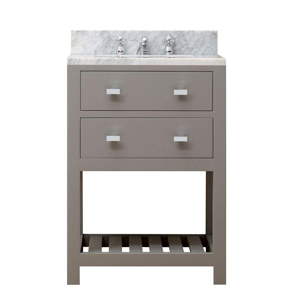 Water Creation 24 In W X 21 5 In D X 34 In H Vanity In Cashmere Grey With Marble Vanity Top In Carrara White Madalyn 24g The Home Depot Single Sink [ 1000 x 1000 Pixel ]