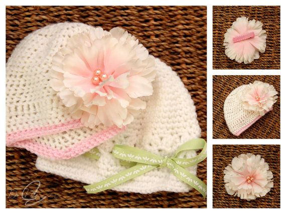 #Crochet baby hats are great to keep baby's head warm. This beautiful hat can be worn for Easter or even a baptism.