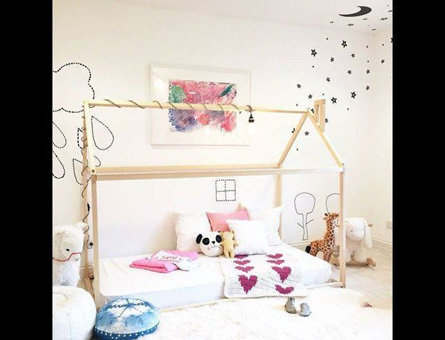 This bed house is an amazing place for children where they can sleep and play. Via en.DaWanda.com.