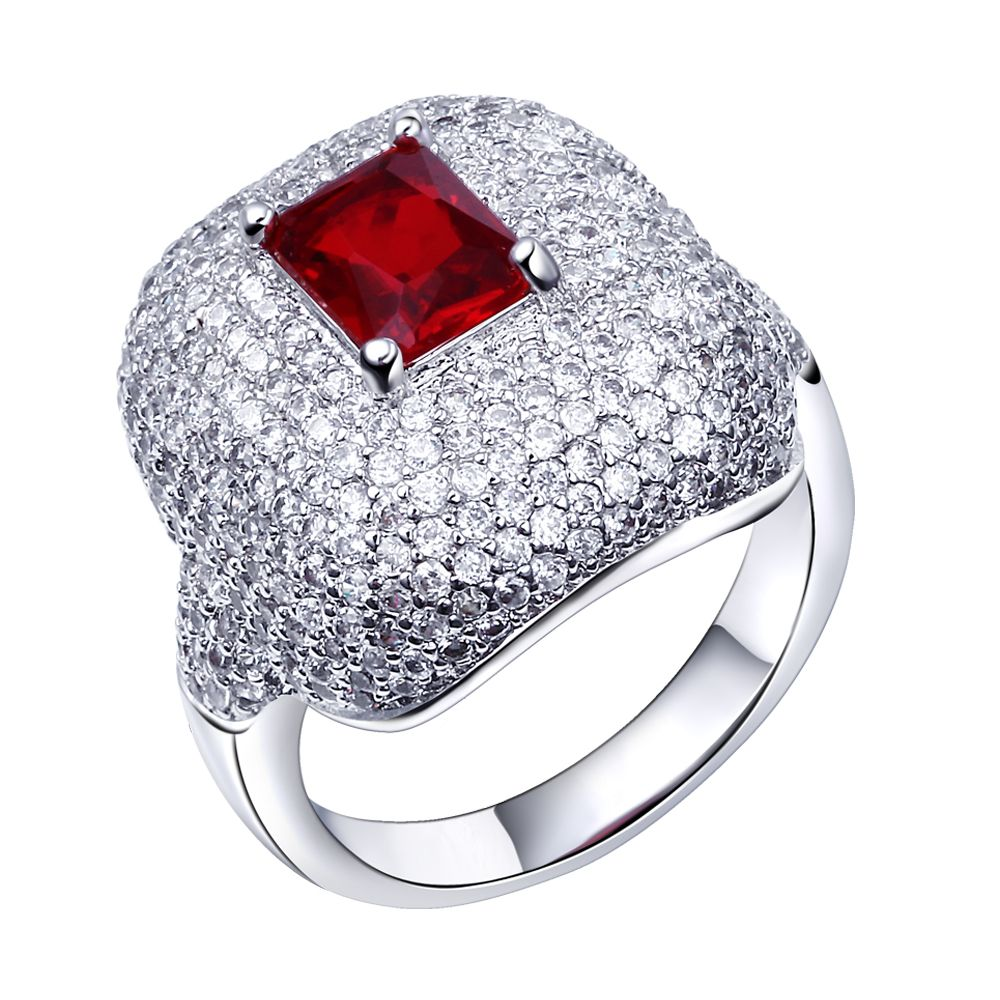 New Red Stone Wedding Ring White gold color Prong Setting Cubic ...