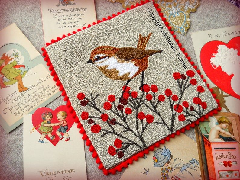 Little Sparrow Bird Finch Feathered Friend Red Berries Berry Etsy In 2020 Punch Needle Embroidery Punch Needle Rug Hooking