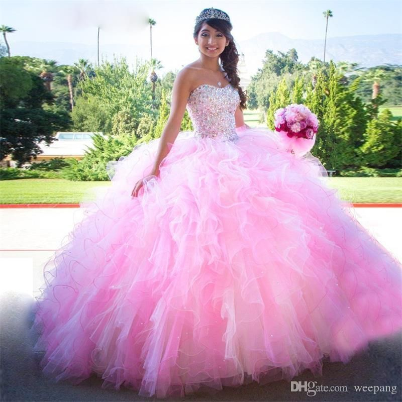 Pink Ball Gown Puffy Ruffles Quinceanera Dresses Sweetheart Sparkly ...