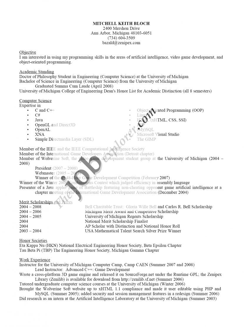 Scholarship Resume Builder Example Objective Statement Usajobs  Academic Resume Builder