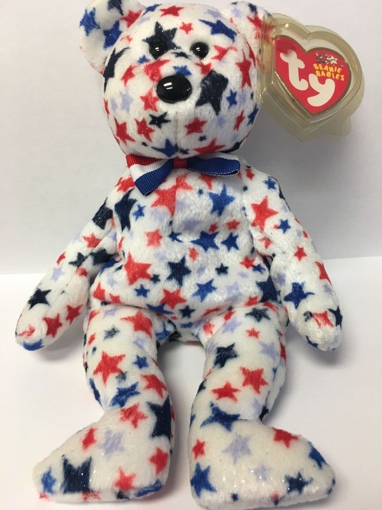 "Ty Beanie Baby 6/"" Valentine Bear lot of 2 white and red"