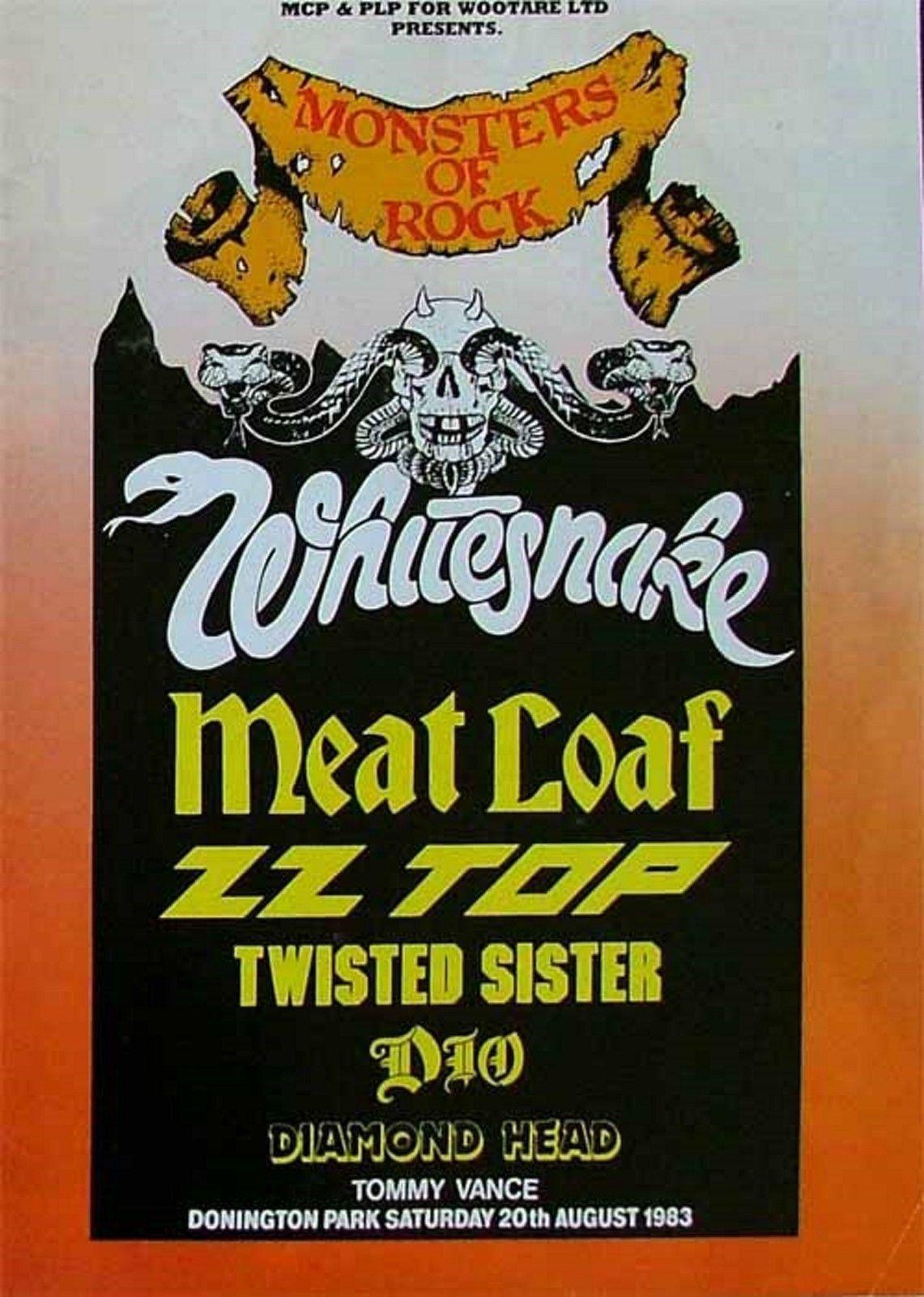 Whitesnake Vintage Poster Monsters Of Rock Castle Donington Uk 1983 Concert Posters Concert Poster Art Rock Band Posters