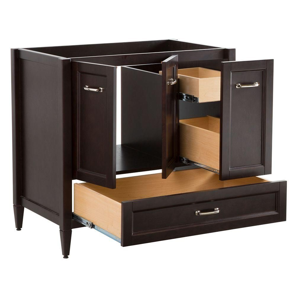 Home Decorators Collection Claxby 36 In W X 34 In H X 22 In D Bath Vanity Cabinet Only In Chocolate Srsd3621 Ch Home Depot Bathroom Vanity Vanity Cabinet Home Depot Bathroom