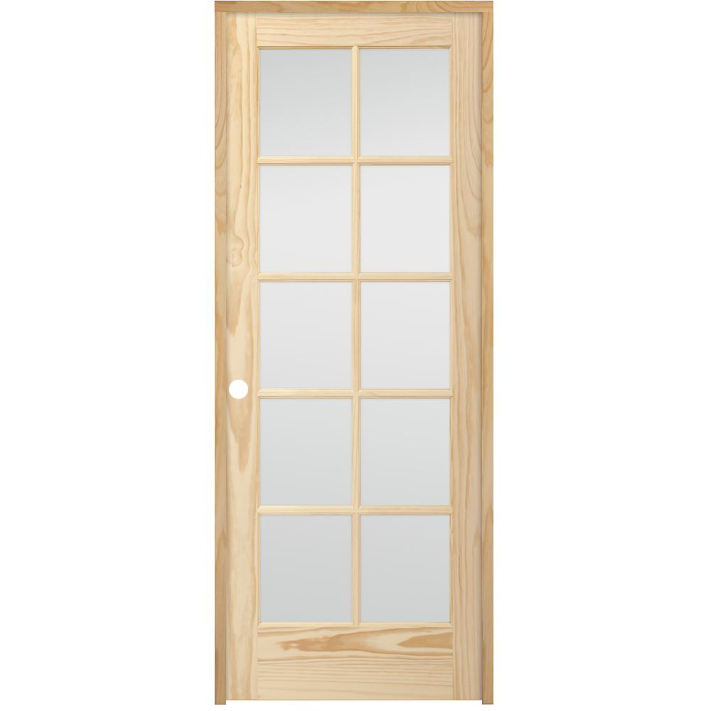 Steves Sons 24 In X 80 In 10 Lite French Unfinished Pine Right Hand Solid Core Wood Single Prehung Interior Doors Doors Interior Solid Core Interior Doors