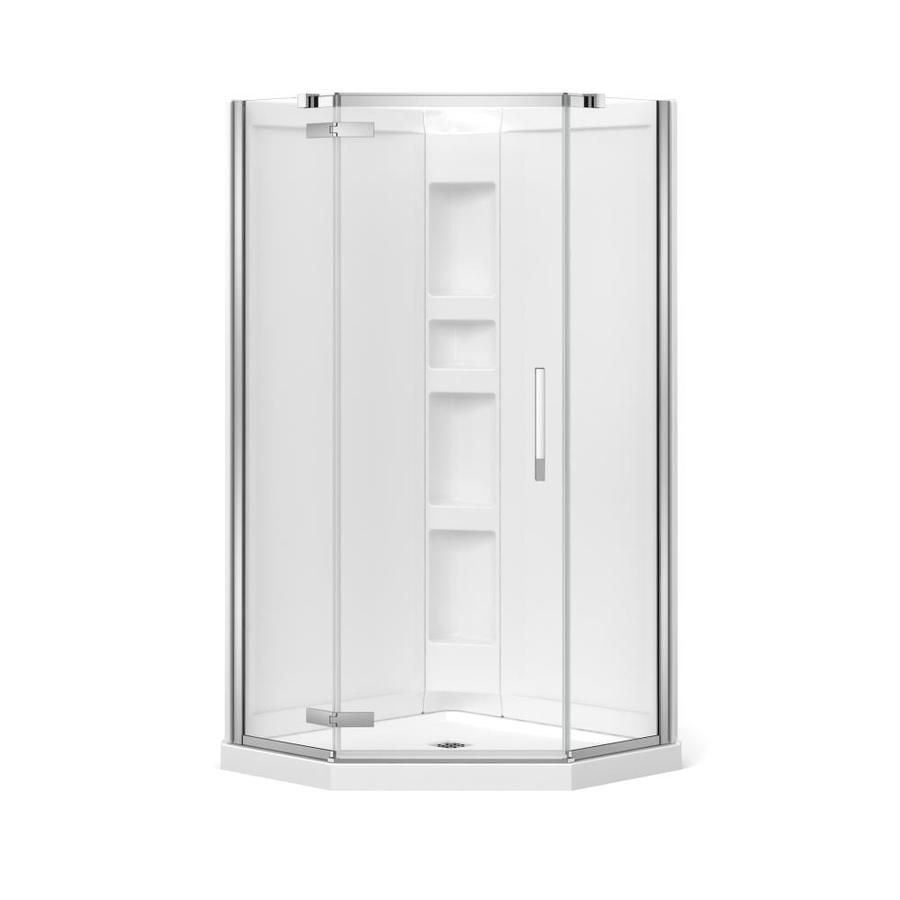 Maax Davana White Acrylic Wall Floor Neo Angle 3 Piece Corner