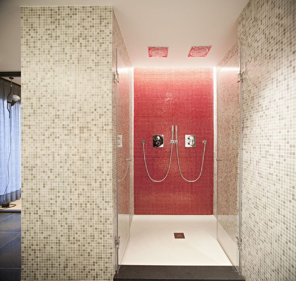 arquitectura in bathroom featuring walk in shower with white floor tile wall and glass door modern minimalist duplex apartment decor specially created