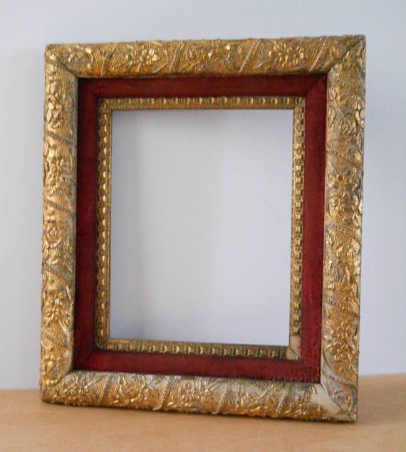 Vintage Gesso Plaster Frame • Plaster on Wood Frame Double with Red ...