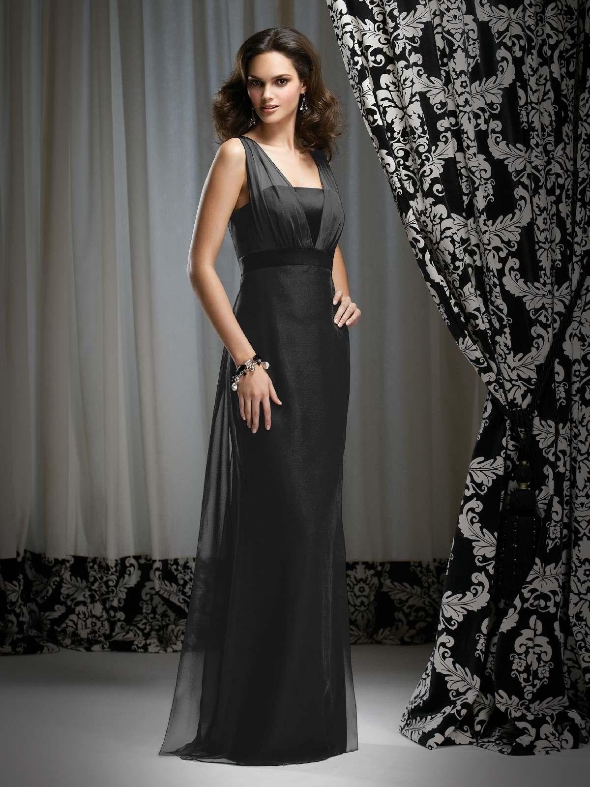 Black Chiffon Sheath Floor Length Bridesmaid Mother Of The Bride Dress With Straps Wedding