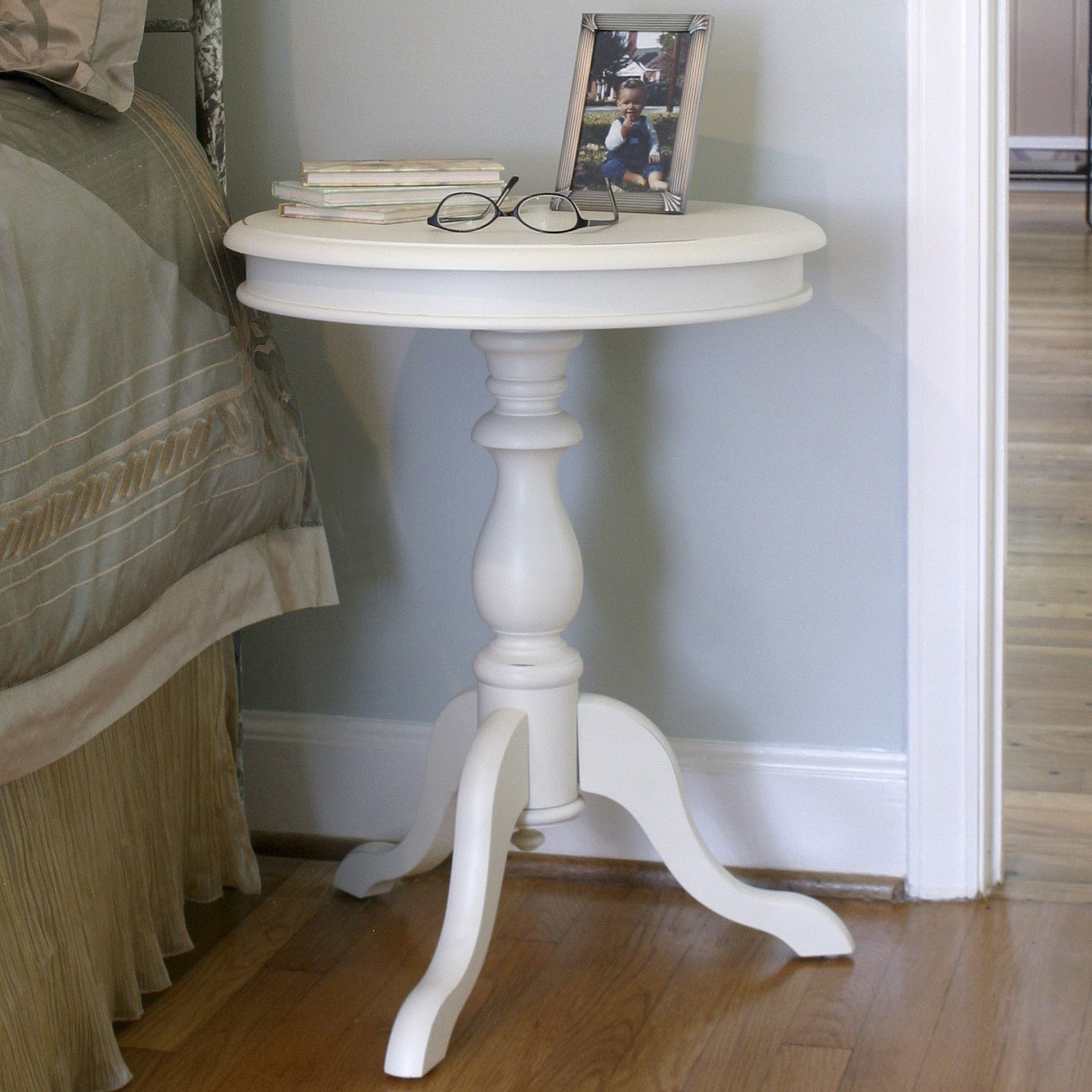 With Its Elegant Pedestal And Vibrant Ivory Finish, This Traditional Accent  Table Is A Great