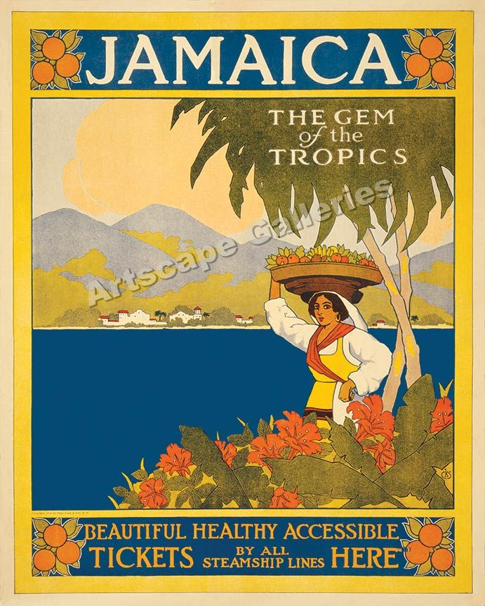 1910 Visit Jamaica Caribbean Vintage Style Travel Poster 24x32