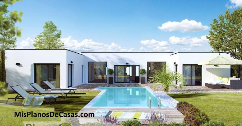 Plano De Casa 3d Moderna Chalet De Una Planta 150m2 Misplanosdecasas Com Planos De Casas Hermosas Casas En 3d Hermosas Casas Modernas