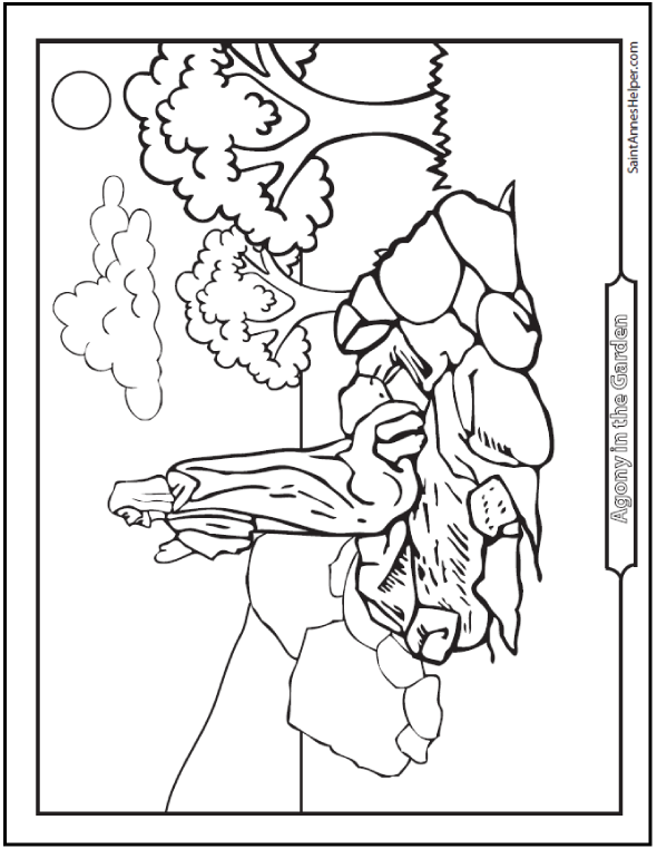 Agony In The Garden Coloring Page ❤ Rosary Coloring Pages ...