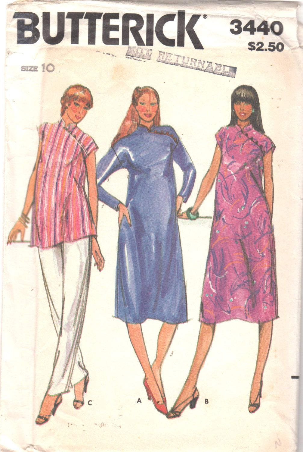 Butterick 3440 1980s misses oriental maternity dress and tunic top butterick 3440 1980s misses oriental maternity dress and tunic top pattern womens vintage chinese sewing pattern size 10 bust 32 uncut jeuxipadfo Image collections