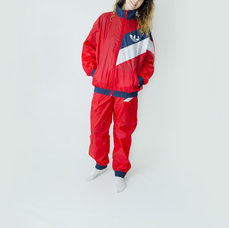 80s Vintage Adidas Windshell Tracksuit Jacket And Pants Hip