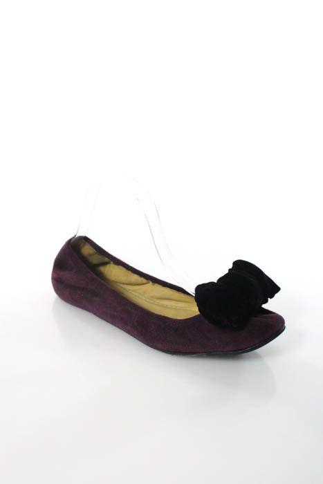 cbfd9abd891 Lanvin Purple Black Bow Detail Suede Ballet Flats Size 40 10  Lanvin   BalletFlats  WeartoWork