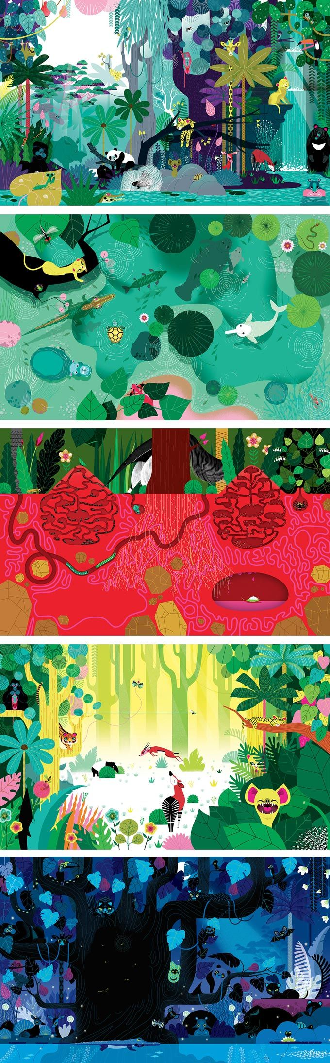Illustrator Lucie Brunellière produced this series of playful images for The Very Jungly Jungle Book. There are over 50 characters within them!