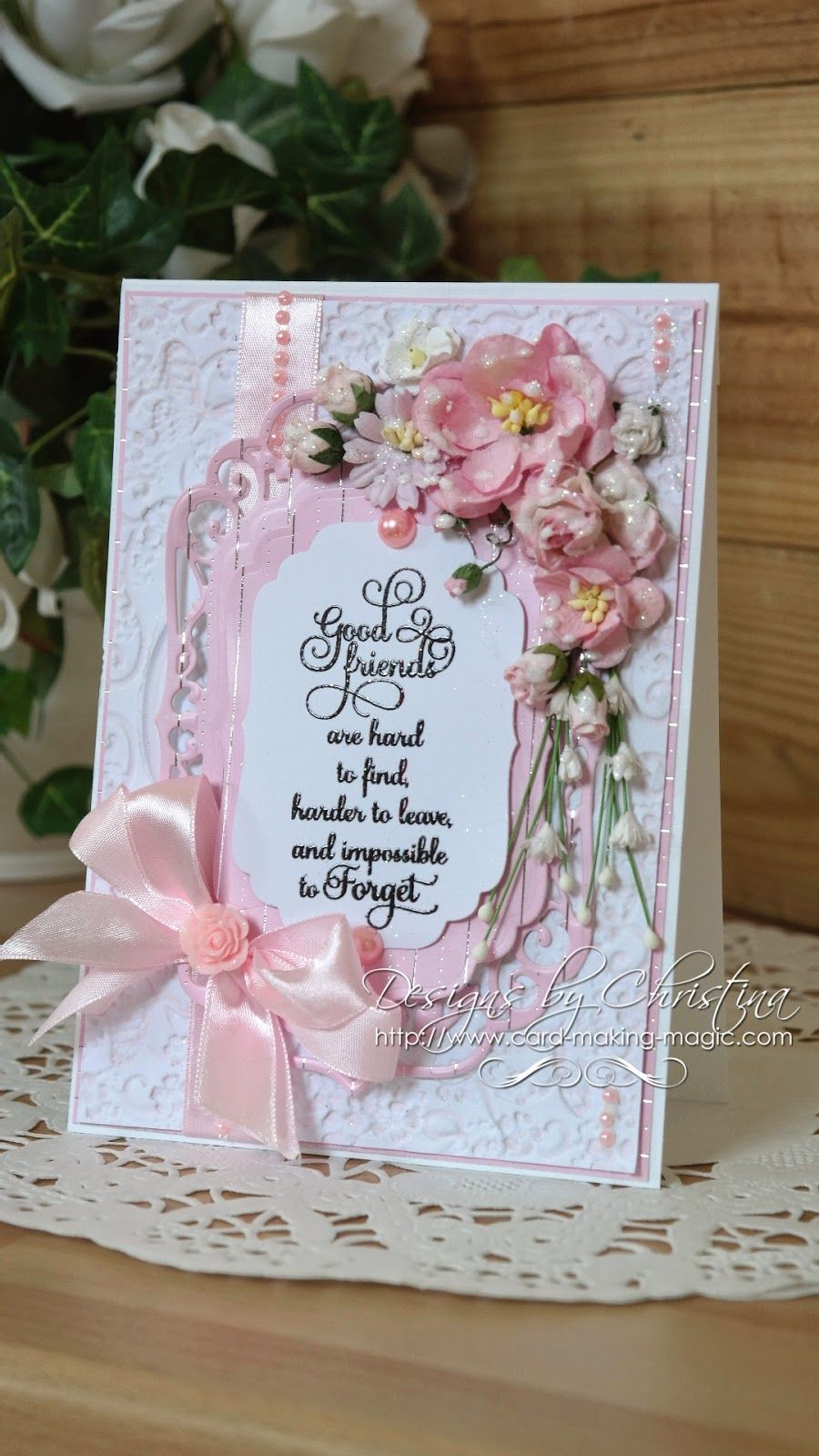 Labels four flowers ribbons and pearls friendship cards cards