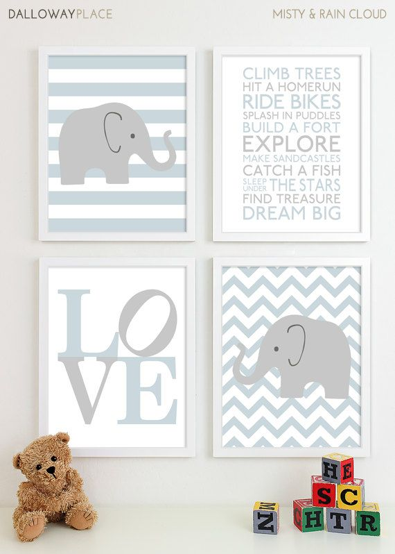 Baby Boy Nursery Art Chevron Elephant By Dallowayplacekids 50 00 Custom Colors