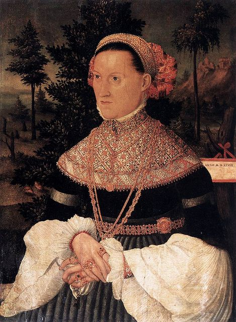 UNKNOWN MASTER, German A Lady c. 1550 by fionasfancies via Flickr coral bead bracelet - also check out her tasseled blackworked hanky!