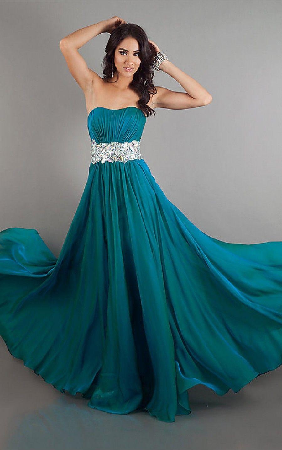 Wow!! I want this dress!! <3 Found online at: http://www.formaldressalenz.com/a-line-floor-length-blue-chiffon-dress.html