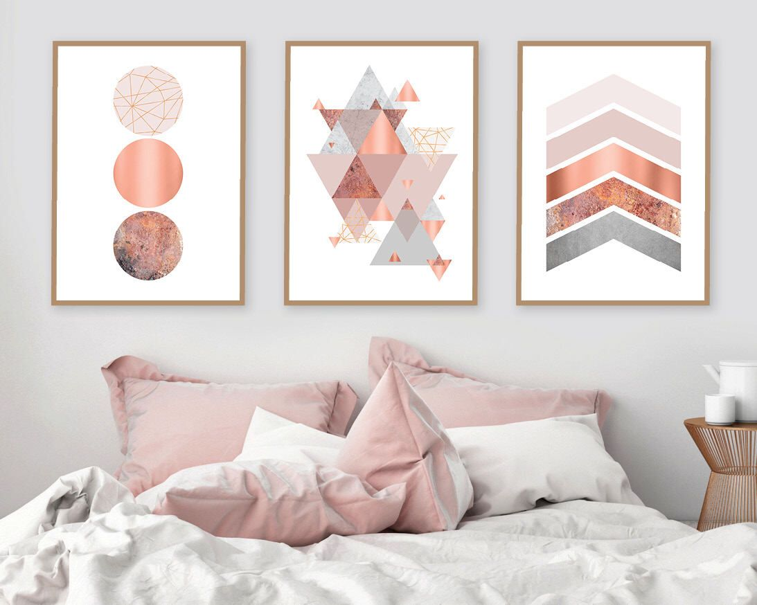 Printable art, Downloadable prints, Set of 3 Prints, Wall Decor, Scandinavian, Blush pink, Copper, Rose Gold, Poster, Wall art, Trending Now is part of Rose gold bedroom - extract the jpegs from the zip folder (right click, extract all) 4  Take the files to your local printer, or upload to an online printing service   What you receive  High Resolution Jpeg files   Sizes to choose from  A2 (resizes perfectly to A4 or A3) 50 x 70 cm 16  x 20  18  x 24  24' x 36   Printing  You can get high quality prints from Officeworks Vistaprint Kwik Kopy Snap Printing Costco Photobox Staples Printful  Framing  There are great value, standard size frames available in stores such as Ikea, Office Works, Target, Kmart or Big W   Terms  All elements (including product photos, artwork and text) are copyrighted and cannot be resold, reproduced, or used without prior written permission from the owner  Your print is for personal use only  Thanks for visiting Urban Epiphany!