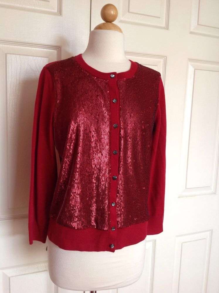 BANANA REPUBLIC L'Wren Scott Collection Red Sequin Cardigan ...