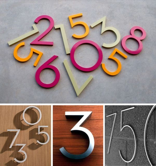 Mid century modern house numbers by becky golino bob for Modern house numbers home depot
