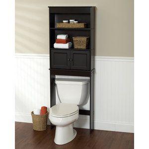 Over The Toilet Bath Storage Shelf Cabinet Space Saver Bathroom Organizer Wood