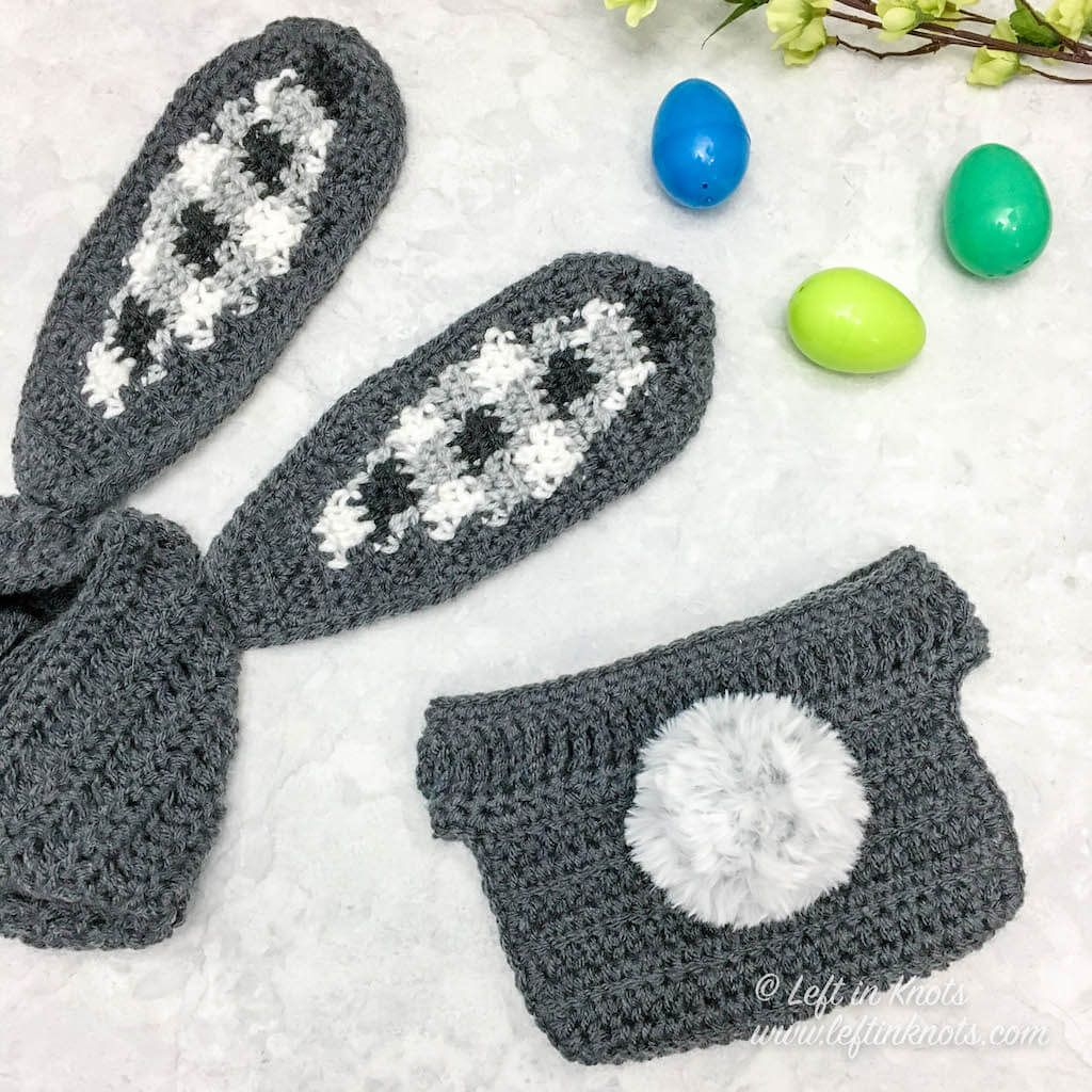 Crochet Gingham Bunny Bonnet and Bunny Tail Diaper Cover a
