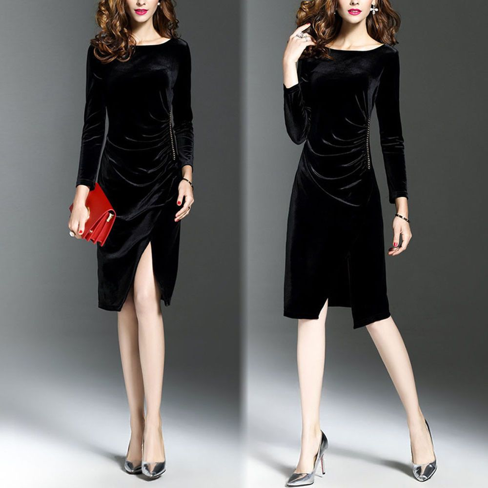 95e0057fd567 Women Solid Long Sleeve Velvet Empire Waist Autumn Winter Dress Below The  Knee  fashion  clothing  shoes  accessories  womensclothing  dresses (ebay  link)