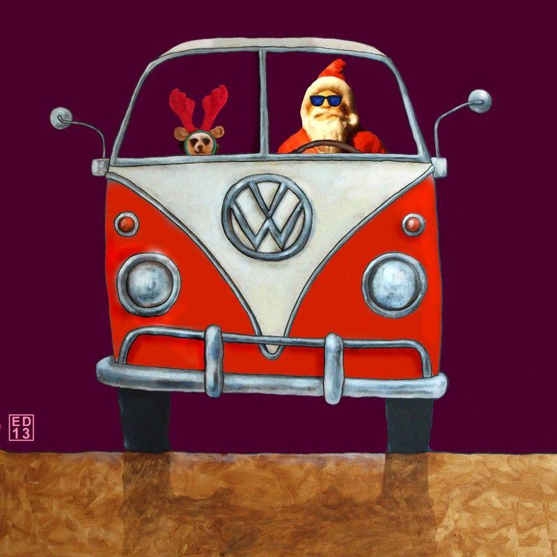 815 santa mobiel volkswagen bus t1 kerstkaarten. Black Bedroom Furniture Sets. Home Design Ideas