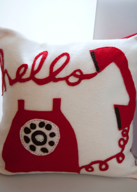 Hello  Pillow. $22.00, via Etsy.