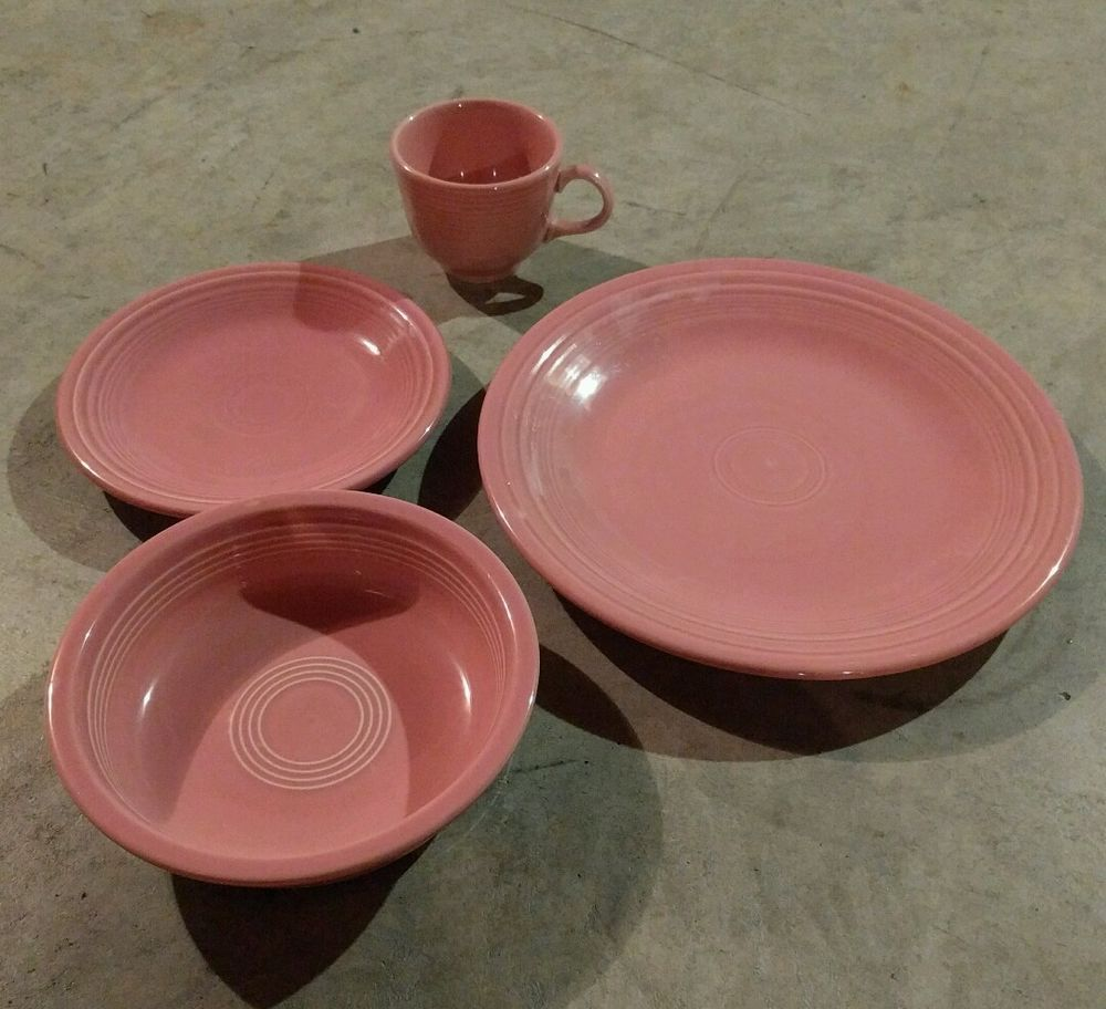 Fiestaware Rose 4 piece place setting Retired color pink Tea cup set # Fiestaware & Fiestaware Rose 4 piece place setting Retired color pink Tea cup set ...