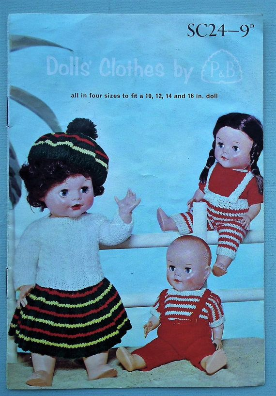 Dolls Clothes By Pb Sc24 Uk Vintage 1950s Knitting Patterns