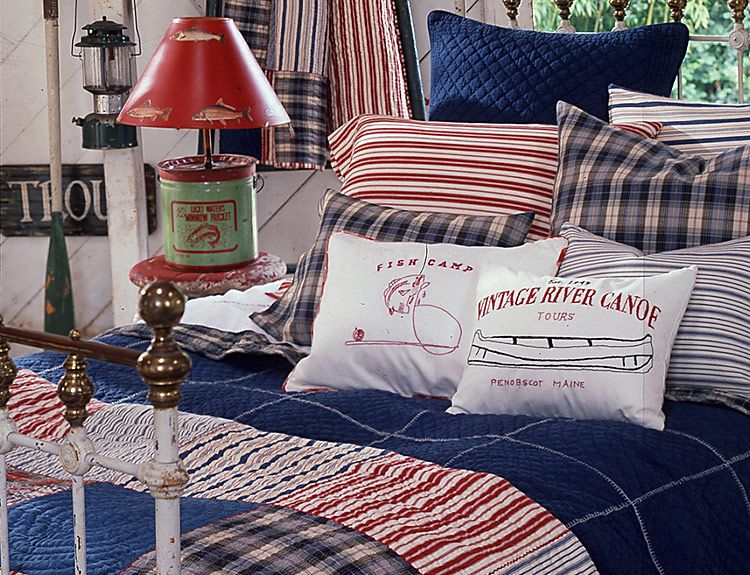 Red White and Blue Sag Harbor Throw and pillows Go to Newport