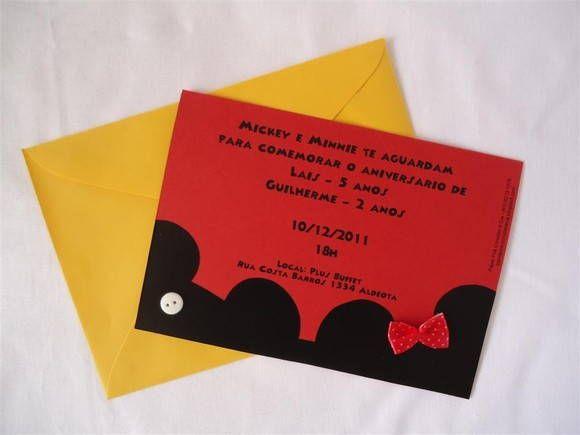 Convite Mickey e Minie Minnie http://www.elo7.com.br/convite-mickey-e-minie/dp/217008