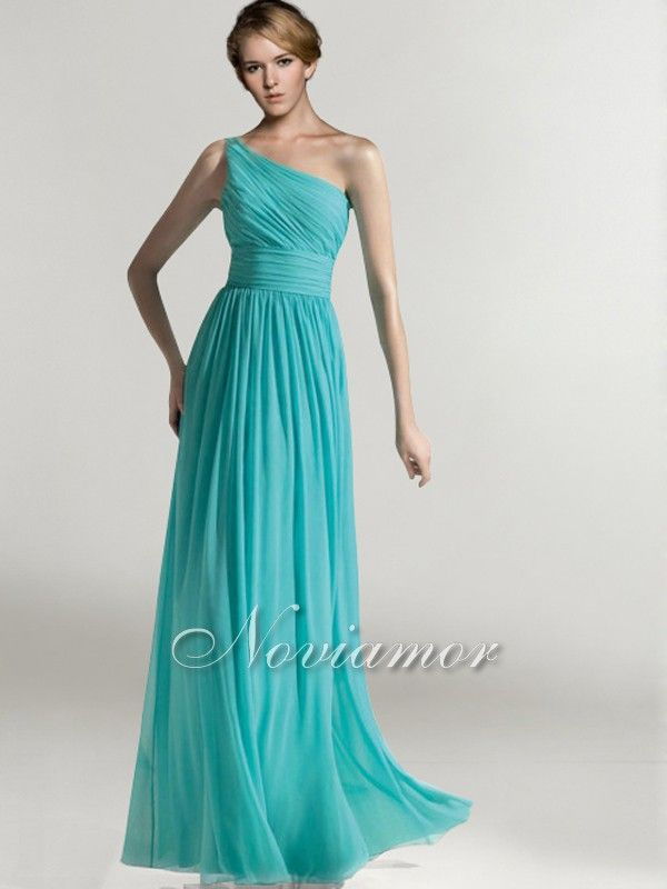 One shoulder aqua blue long wedding bridesmaid dress for Aqua blue dress for wedding